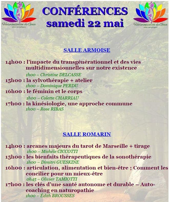 "Conférences 22 mai 2021 ""Harmonisation de Gaïa"" Forcalquier"