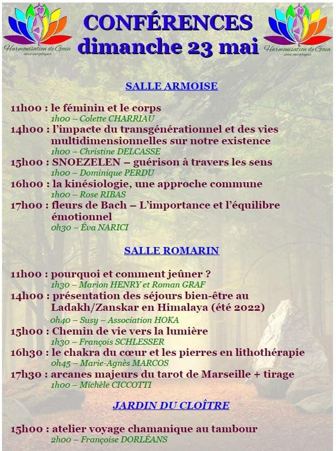 "Conférences 23 mai 2021 ""Harmonisation de Gaïa"" Forcalquier"